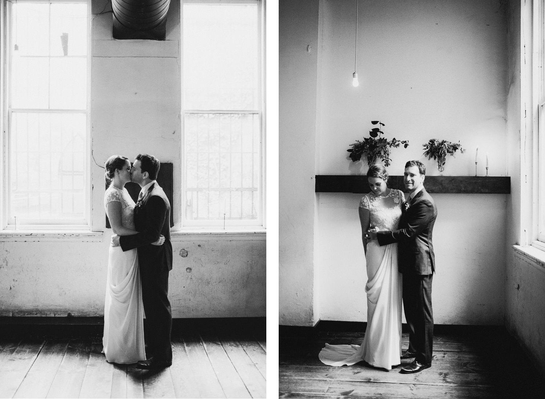 Indoor wedding portraits on a rainy day